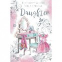 Daughter & Son In Law Champagne Rose & Holly Design Christmas Card Lovely Verse