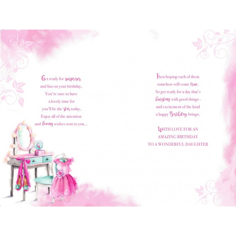 Daughter Son In Law Champagne Rose Holly Design Christmas Card Lovely Verse