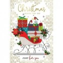 Daughter & Son In Law Penguins & Snowflake Design Christmas Card Lovely Verse