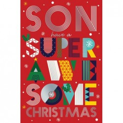 Great Grandson 1st Age 1 Cute Bear Present & Balloon Design Happy Birthday Card