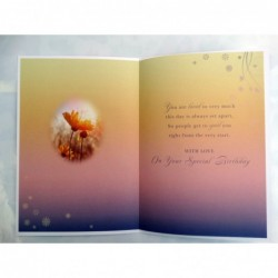 On Your 70th 70 Flowers Vase & Butterflies Lovely Verse Happy Birthday Card