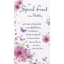 Special Friends Fire Tree Wine & Mince Pies Design Christmas Card Lovely Verse