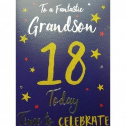 Grandson 14th 14 Word & Star Design WIth A Lovely Verse Happy Birthday Card
