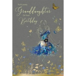90 90th Female Bird Cage & Butterfly Design Happy Birthday Card Lovely Verse